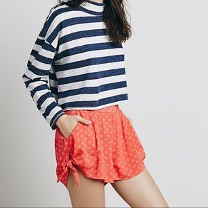 Free People Bella Side Tie Coral Pull on Short